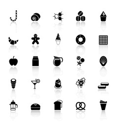 Sweet food icons with reflect on white background vector