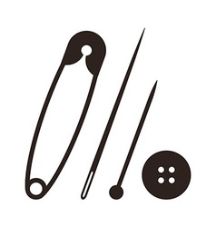 Safety pin needle pin and button vector