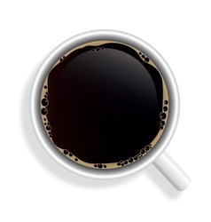 Top view of black coffee cup isolated on white vector
