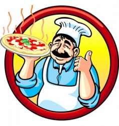 Pizza man vector