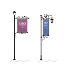 Vintage lamp post sign vector