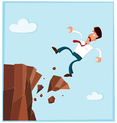 Businessman falling from the side of cliff prev vector