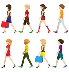 Fashionable people walking without faces vector