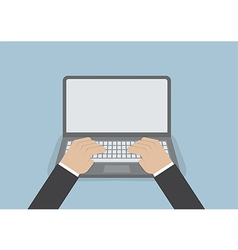 Businessman hand on laptop keyboard with blank scr vector