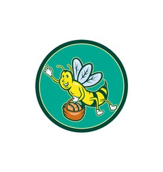 Bee carrying basket with bread cartoon vector