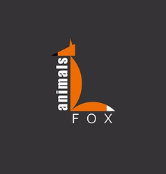 Orange fox in the figure letter l animal logo zoo vector