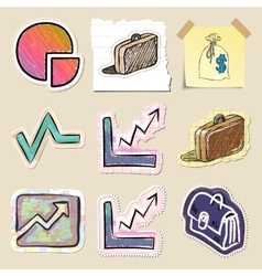 Hand drawn finance emblems set isolated vector
