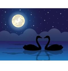 Pair of swans in a pond vector
