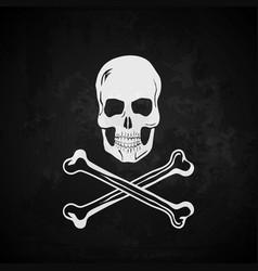 Pirate flag skull with crossed bones vector