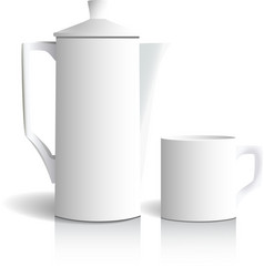Coffee pot and cup vector