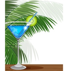 Blue cocktail with kiwi and palm branches vector