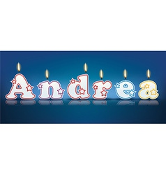 Andrea written with burning candles vector