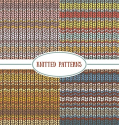 Set of seamless patterns with knitted stripes vector