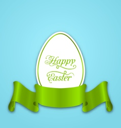 Label with ribbon as easter paper egg vector