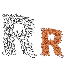Floral and foliate font uppercase letter r vector