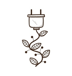 Plug with leaves as a wire vector