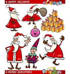 Cartoon set of christmas themes vector