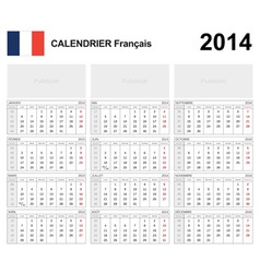 Calendar 2014 french type 19b vector