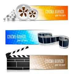 Set of banners with cinema element vector