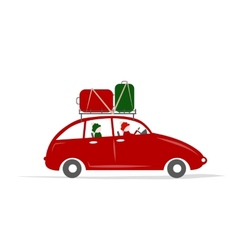 Family traveling by red car with luggage vector