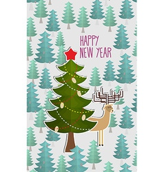 Christmas tree in forest and deer greeting card vector