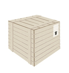 A wooden cargo box on white background vector