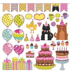 Happy birthday party elements set vector