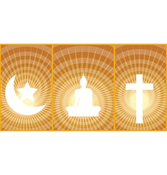 Three great religions buddhism christianity islam vector