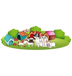 A group of dogs outside their houses vector