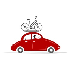 Man driving red car with bike on the roof rack vector