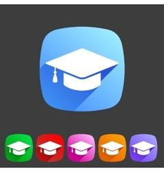 Flat graduation cap icon vector