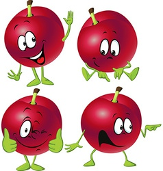 Red plum cartoon with hands and legs standing vector