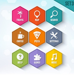 Trendy rounded hexagon icons set 3 vector