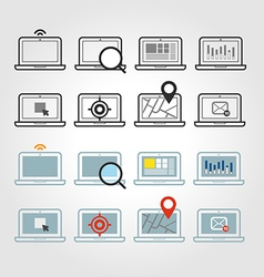 Different laptop icons set with rounded corners vector