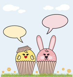 Cupcake easter bunny and chicken vector