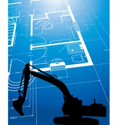 Architectural drawing and digger vector