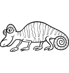 Chameleon cartoon coloring page vector