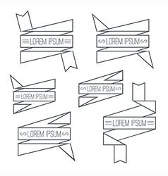 Set of ribbons thin line vector