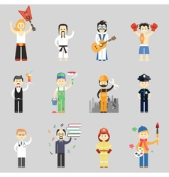 Set of characters in different professions vector