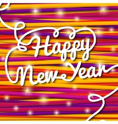 Happy new year handwritten white swirl lettering vector