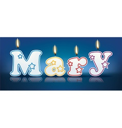 Mary written with burning candles vector
