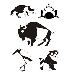 Art animal silhouettes collection vector