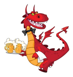 Dragon waiter with beer vector