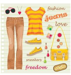 Jeans fashion set vector