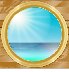 Ship porthole with seascape view vector