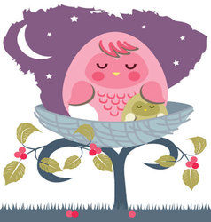 Asleep-baby-owl-with-mom vector