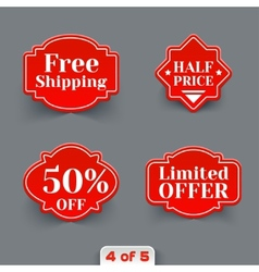 Set of red sale paper retro labels vector