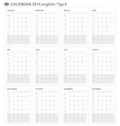 Calendar 2014 english type 6 vector