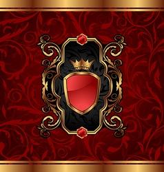 Golden vintage with heraldic elements crown shield vector