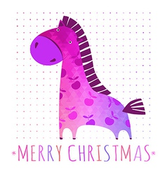 Christmas card with colorful horse vector
